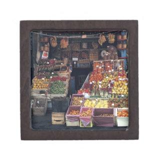 Europe, Italy, Venice area. Colorful fruits and Keepsake Box