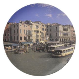 Europe, Italy, Venice, Boat traffic by Rialto Plate