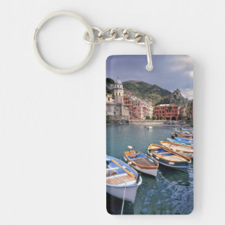 Europe, Italy, Vernazza. Brightly painted boats Keychain