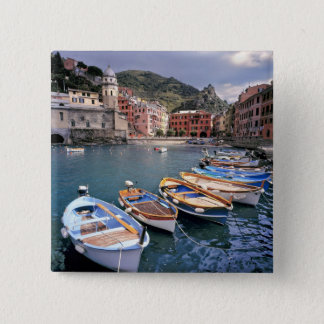 Europe, Italy, Vernazza. Brightly painted boats Pinback Button