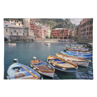 Europe Italy Vernazza Brightly painted boats Place Mats