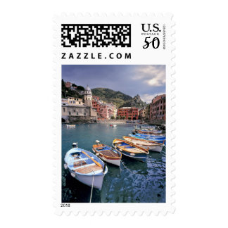 Europe, Italy, Vernazza. Brightly painted boats Postage