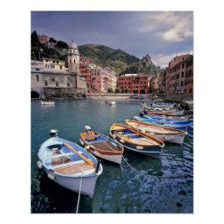 Europe, Italy, Vernazza. Brightly painted boats Poster