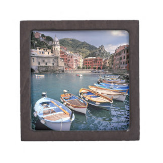 Europe, Italy, Vernazza. Brightly painted boats Premium Trinket Box