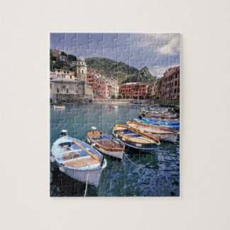Europe, Italy, Vernazza. Brightly painted boats Puzzles