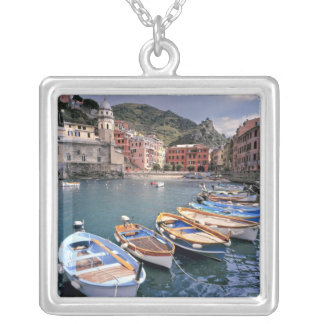 Europe, Italy, Vernazza. Brightly painted boats Silver Plated Necklace