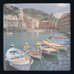 """Europe, Italy, Vernazza. Brightly painted boats Stone Coaster<br><div class=""""desc"""">COPYRIGHT Ric Ergenbright / DanitaDelimont.com 