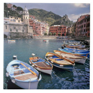 Europe, Italy, Vernazza. Brightly painted boats Ceramic Tiles
