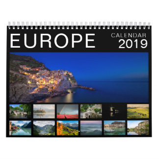 Europe landscape photography black 2019 calendar