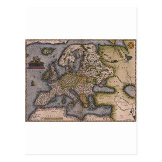 Europe Map 1572 Postcard
