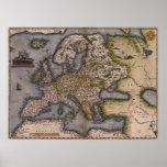 Europe Map 1572 Print