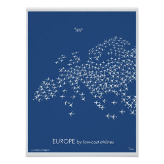 Europe map by low-cost airlines poster