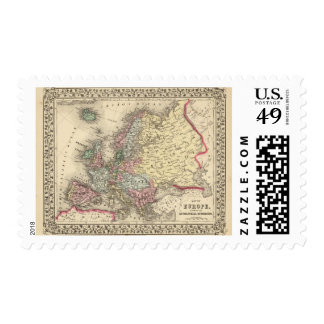 Europe Map by Mitchell Postage Stamp