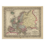 Europe Map by Mitchell Poster