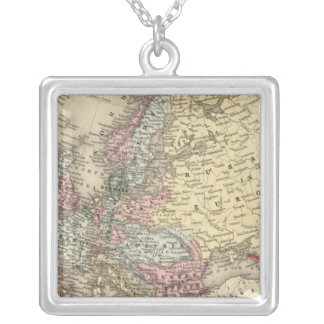 Europe Map by Mitchell Square Pendant Necklace