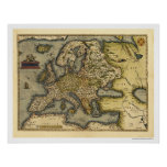 Europe Map By Ortelius 1570 Poster