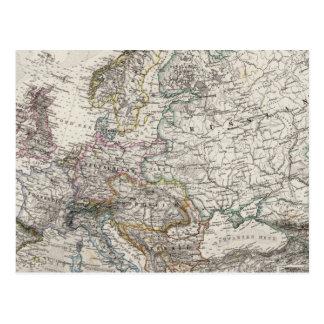 Europe Map by Stieler Postcard