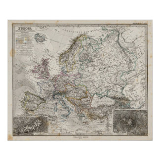 Europe Map by Stieler Poster