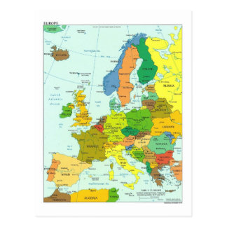 Europe map post card