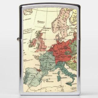 Europe Map Vintage Travel Zippo Lighter