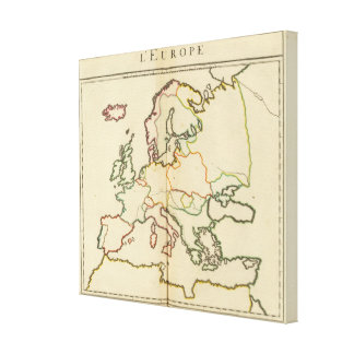 Europe, Mountains and Rivers Outline Canvas Print