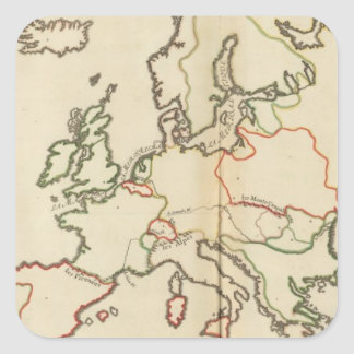 Europe, Mountains and Rivers Square Stickers