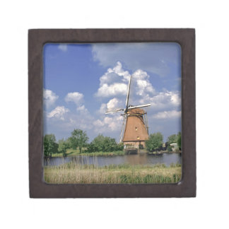 Europe, Netherlands, Kinerdijk. A windmill sits Keepsake Box