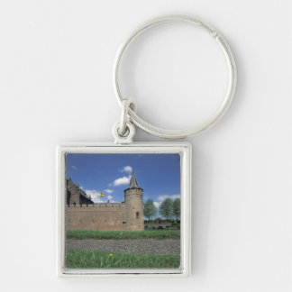 Europe, Netherlands, Muiden Muiden Castle Silver-Colored Square Keychain