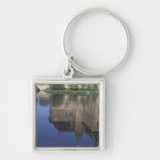 Europe, Netherlands, Vorden Vorden Castle Silver-Colored Square Keychain