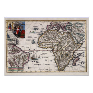 Europe, new world America and Africa Ancient Map Poster