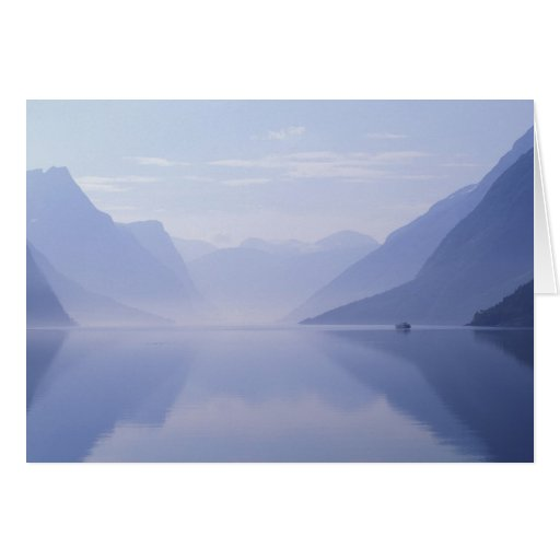 Europe, Norway. Vertical walls reflected in Greeting Card