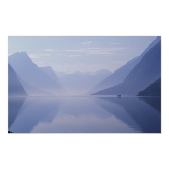 Europe, Norway. Vertical walls reflected in Poster