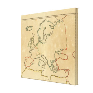 Europe Outline 2 Stretched Canvas Print