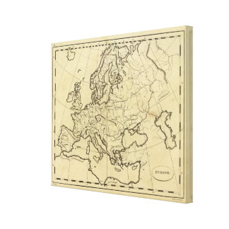 Europe outline map canvas print