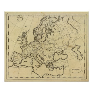 Europe outline map poster