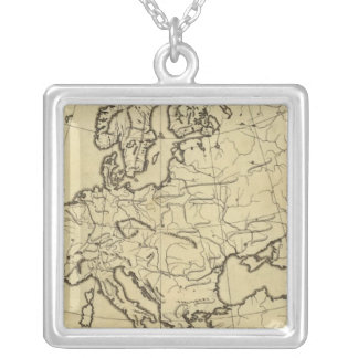 Europe outline map square pendant necklace