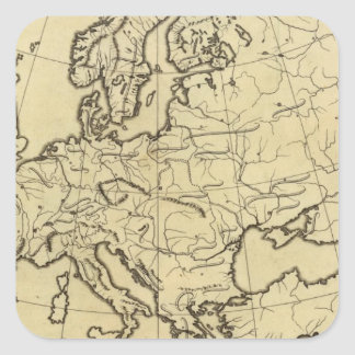 Europe outline map square sticker