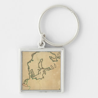 Europe Outline Silver-Colored Square Keychain