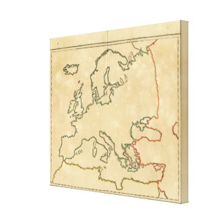 Europe Outline Stretched Canvas Prints