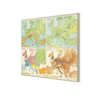 Europe physical features & population Map Canvas Print