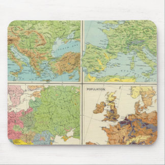 Europe physical features & population Map Mouse Pad