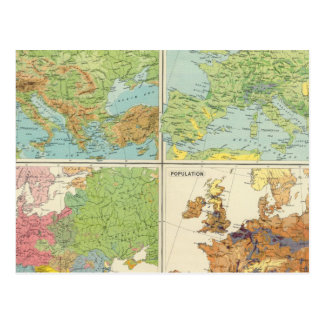 Europe physical features & population Map Postcard