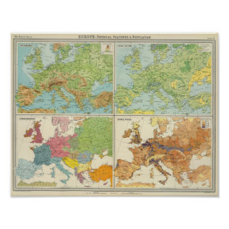 Europe physical features & population Map Poster