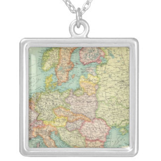 Europe political Map Square Pendant Necklace