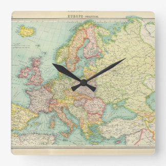 Europe - political. square wall clock