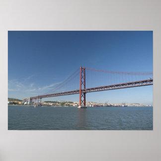 Europe, Portugal, Lisbon aka Lisboa). Ponte Poster