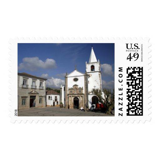 Europe, Portugal, Obidos. Santa Maria Church in Postage Stamp