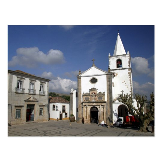 Europe, Portugal, Obidos. Santa Maria Church in Postcard