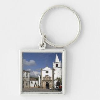 Europe, Portugal, Obidos. Santa Maria Church in Silver-Colored Square Keychain