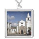 Europe, Portugal, Obidos. Santa Maria Church in Square Pendant Necklace